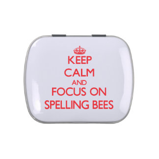 Keep Calm and focus on Spelling Bees Jelly Belly Candy Tin