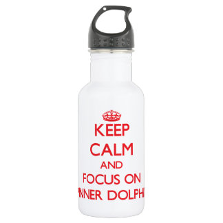 Keep calm and focus on Spinner Dolphins 18oz Water Bottle