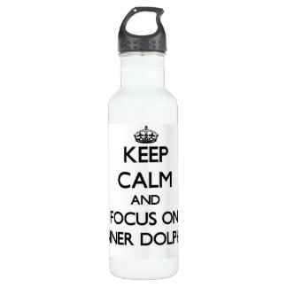 Keep calm and focus on Spinner Dolphins 24oz Water Bottle