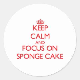 Keep Calm and focus on Sponge Cake Round Sticker