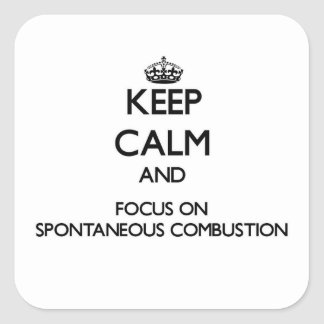 Keep Calm and focus on Spontaneous Combustion Square Stickers