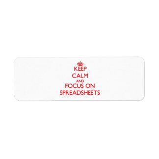 Keep Calm and focus on Spreadsheets Custom Return Address Label