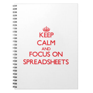 Keep Calm and focus on Spreadsheets Notebook