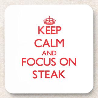 Keep Calm and focus on Steak Beverage Coasters