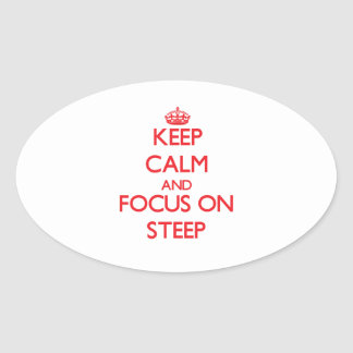 Keep Calm and focus on Steep Oval Stickers