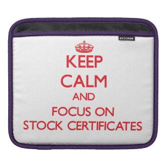 Keep Calm and focus on Stock Certificates iPad Sleeve