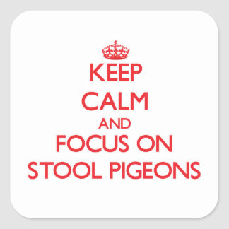 Keep Calm and focus on Stool Pigeons Square Stickers
