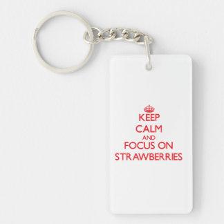 Keep Calm and focus on Strawberries Single-Sided Rectangular Acrylic Keychain