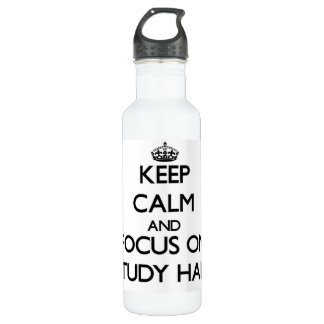 Keep Calm and focus on Study Hall 24oz Water Bottle