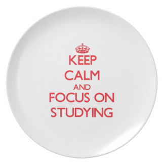 Keep Calm and focus on Studying Party Plate