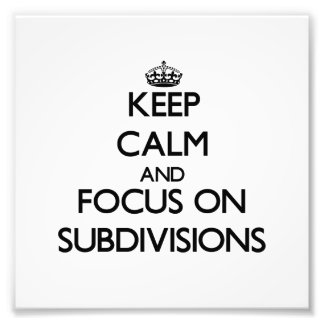 Keep Calm and focus on Subdivisions Art Photo