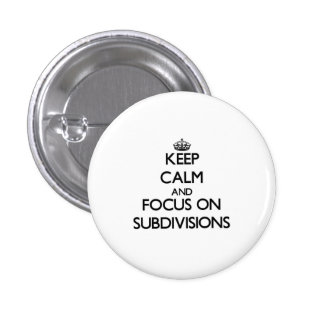 Keep Calm and focus on Subdivisions Pin