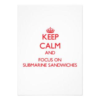 Keep Calm and focus on Submarine Sandwiches Invites