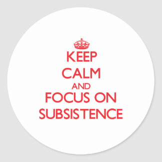 Keep Calm and focus on Subsistence Classic Round Sticker