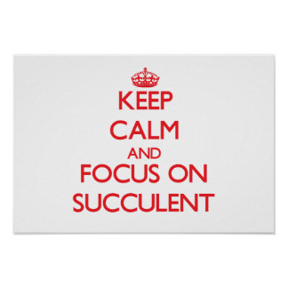 Keep Calm and focus on Succulent Posters