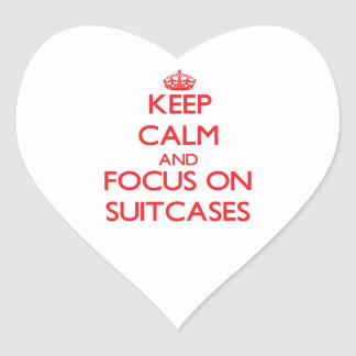 Keep Calm and focus on Suitcases Heart Stickers