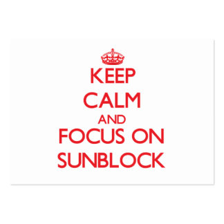 Keep Calm and focus on Sunblock Large Business Cards (Pack Of 100)