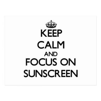 Keep Calm and focus on Sunscreen Postcard