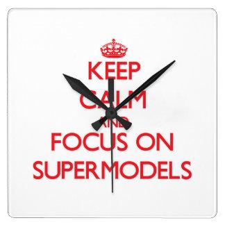 Keep Calm and focus on Supermodels Wall Clocks