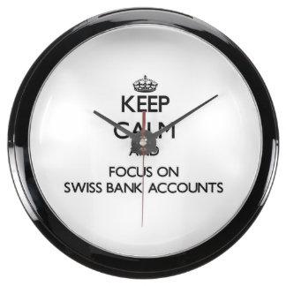 Keep Calm and focus on Swiss Bank Accounts Fish Tank Clock