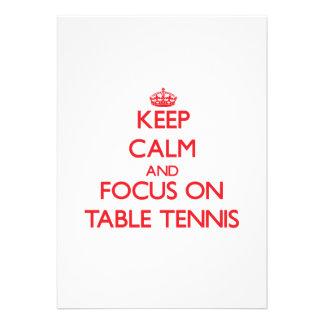Keep calm and focus on Table Tennis Custom Invitation