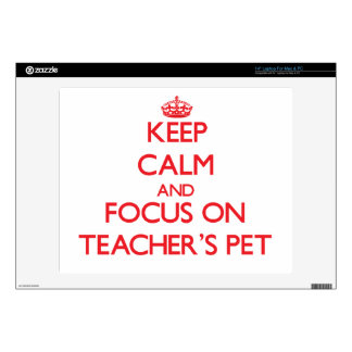 """Keep Calm and focus on Teacher'S Pet Decal For 14"""" Laptop"""