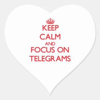 Keep Calm and focus on Telegrams Heart Sticker