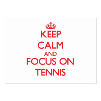 Keep Calm and focus on Tennis Large Business Cards (Pack Of 100)