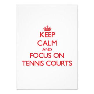 Keep Calm and focus on Tennis Courts Custom Invitation