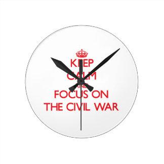 Keep Calm and focus on The Civil War Round Wallclocks