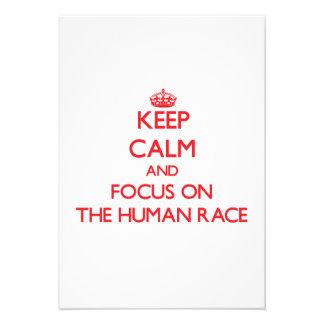 Keep Calm and focus on The Human Race Custom Invitations