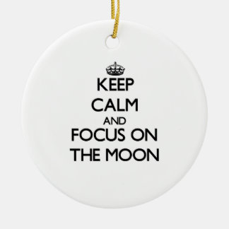 Keep Calm and focus on The Moon Double-Sided Ceramic Round Christmas Ornament