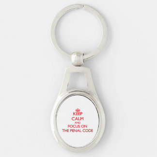 Keep Calm and focus on The Penal Code Silver-Colored Oval Metal Keychain