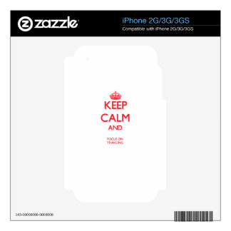 Keep calm and focus on TRAVELING Skin For iPhone 3