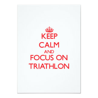 Keep calm and focus on Triathlon Personalized Invitations