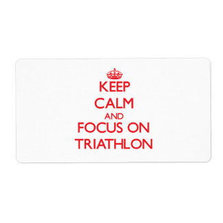 Keep calm and focus on Triathlon Shipping Label