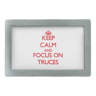 Keep Calm and focus on Truces Rectangular Belt Buckles