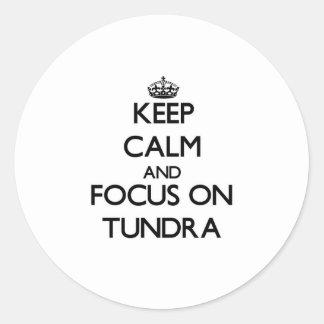 Keep Calm and focus on Tundra Round Sticker