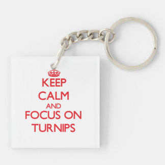Keep Calm and focus on Turnips Double-Sided Square Acrylic Keychain