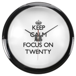 Keep Calm and focus on Twenty Aqua Clocks