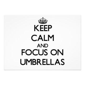 Keep Calm and focus on Umbrellas Custom Invitations