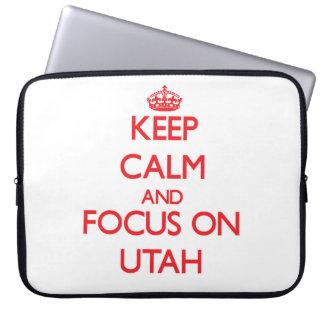 Keep Calm and focus on Utah Computer Sleeves