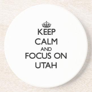 Keep Calm and focus on Utah Drink Coasters