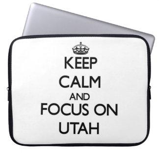 Keep Calm and focus on Utah Laptop Computer Sleeve