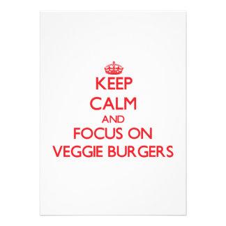 Keep Calm and focus on Veggie Burgers Custom Invitations