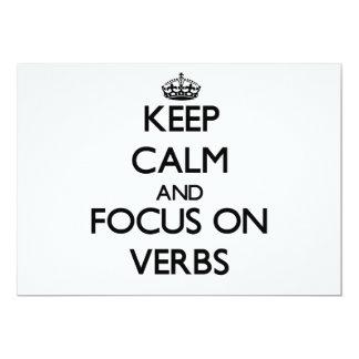 Keep Calm and focus on Verbs 5x7 Paper Invitation Card