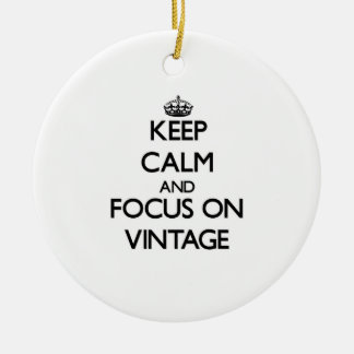 Keep Calm and focus on Vintage Double-Sided Ceramic Round Christmas Ornament