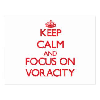 Keep Calm and focus on Voracity Postcard
