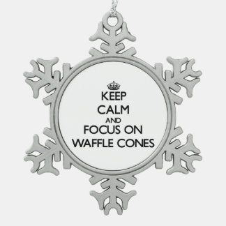 Keep Calm and focus on Waffle Cones Snowflake Pewter Christmas Ornament