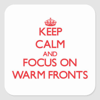 Keep Calm and focus on Warm Fronts Square Sticker